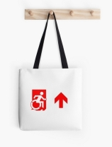 Accessible Means of Egress Icon Exit Sign Wheelchair Wheelie Running Man Symbol by Lee Wilson PWD Disability Emergency Evacuation Tote Bag 82
