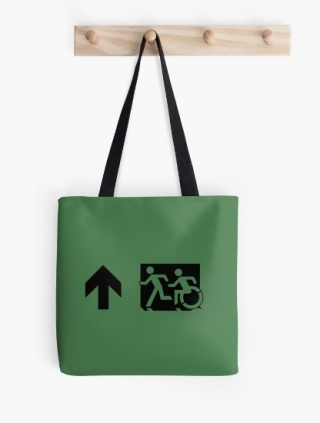Accessible Means of Egress Icon Exit Sign Wheelchair Wheelie Running Man Symbol by Lee Wilson PWD Disability Emergency Evacuation Tote Bag 83