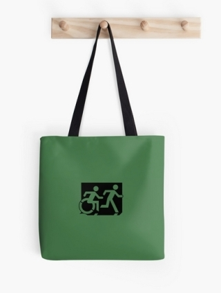 Accessible Means of Egress Icon Exit Sign Wheelchair Wheelie Running Man Symbol by Lee Wilson PWD Disability Emergency Evacuation Tote Bag 84