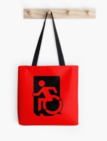 Accessible Means of Egress Icon Exit Sign Wheelchair Wheelie Running Man Symbol by Lee Wilson PWD Disability Emergency Evacuation Tote Bag 85