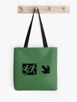 Accessible Means of Egress Icon Exit Sign Wheelchair Wheelie Running Man Symbol by Lee Wilson PWD Disability Emergency Evacuation Tote Bag 86
