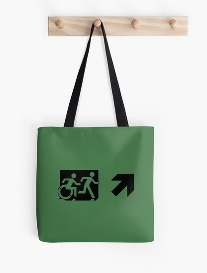 Accessible Means of Egress Icon Exit Sign Wheelchair Wheelie Running Man Symbol by Lee Wilson PWD Disability Emergency Evacuation Tote Bag 87