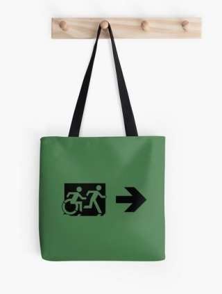 Accessible Means of Egress Icon Exit Sign Wheelchair Wheelie Running Man Symbol by Lee Wilson PWD Disability Emergency Evacuation Tote Bag 88