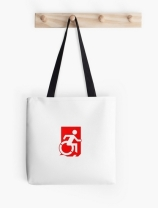 Accessible Means of Egress Icon Exit Sign Wheelchair Wheelie Running Man Symbol by Lee Wilson PWD Disability Emergency Evacuation Tote Bag 90