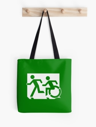 Accessible Means of Egress Icon Exit Sign Wheelchair Wheelie Running Man Symbol by Lee Wilson PWD Disability Emergency Evacuation Tote Bag 91