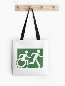Accessible Means of Egress Icon Exit Sign Wheelchair Wheelie Running Man Symbol by Lee Wilson PWD Disability Emergency Evacuation Tote Bag 92
