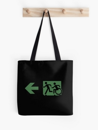 Accessible Means of Egress Icon Exit Sign Wheelchair Wheelie Running Man Symbol by Lee Wilson PWD Disability Emergency Evacuation Tote Bag 93