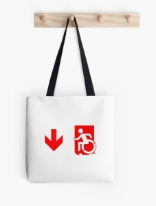 Accessible Means of Egress Icon Exit Sign Wheelchair Wheelie Running Man Symbol by Lee Wilson PWD Disability Emergency Evacuation Tote Bag 95