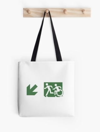 Accessible Means of Egress Icon Exit Sign Wheelchair Wheelie Running Man Symbol by Lee Wilson PWD Disability Emergency Evacuation Tote Bag 96
