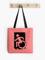 Accessible Means of Egress Icon Exit Sign Wheelchair Wheelie Running Man Symbol by Lee Wilson PWD Disability Emergency Evacuation Tote Bag 98