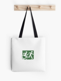 Accessible Means of Egress Icon Exit Sign Wheelchair Wheelie Running Man Symbol by Lee Wilson PWD Disability Emergency Evacuation Tote Bag 99
