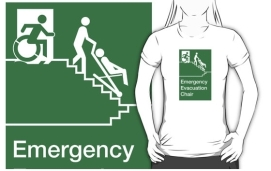 Accessible Means of Egress Icon Exit Sign Wheelchair Wheelie Running Man Symbol by Lee Wilson PWD Disability Evacuation Chair Adult T-shirt 2