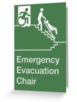 Accessible Means of Egress Icon Exit Sign Wheelchair Wheelie Running Man Symbol by Lee Wilson PWD Disability Evacuation Chair Greeting Card 1