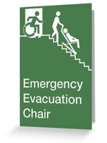 Accessible Means of Egress Icon Exit Sign Wheelchair Wheelie Running Man Symbol by Lee Wilson PWD Disability Evacuation Chair Greeting Card 2