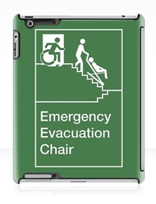 Accessible Means of Egress Icon Exit Sign Wheelchair Wheelie Running Man Symbol by Lee Wilson PWD Disability Evacuation Chair iPad Case 1