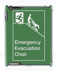 Accessible Means of Egress Icon Exit Sign Wheelchair Wheelie Running Man Symbol by Lee Wilson PWD Disability Evacuation Chair iPad Case 2