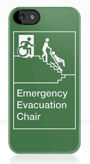 Accessible Means of Egress Icon Exit Sign Wheelchair Wheelie Running Man Symbol by Lee Wilson PWD Disability Evacuation Chair iPhone Case 2