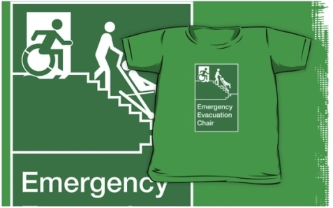 Accessible Means of Egress Icon Exit Sign Wheelchair Wheelie Running Man Symbol by Lee Wilson PWD Disability Evacuation Chair Kids Clothing 1