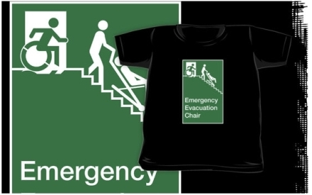 Accessible Means of Egress Icon Exit Sign Wheelchair Wheelie Running Man Symbol by Lee Wilson PWD Disability Evacuation Chair Kids Clothing 2