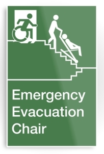 Accessible Means of Egress Icon Exit Sign Wheelchair Wheelie Running Man Symbol by Lee Wilson PWD Disability Evacuation Chair Metal Printed 1
