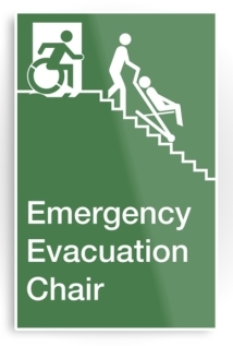 Accessible Means of Egress Icon Exit Sign Wheelchair Wheelie Running Man Symbol by Lee Wilson PWD Disability Evacuation Chair Metal Printed 2