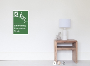 Accessible Means of Egress Icon Exit Sign Wheelchair Wheelie Running Man Symbol by Lee Wilson PWD Disability Evacuation Chair Poster 1