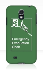 Accessible Means of Egress Icon Exit Sign Wheelchair Wheelie Running Man Symbol by Lee Wilson PWD Disability Evacuation Chair Samsung Galaxy Case 1