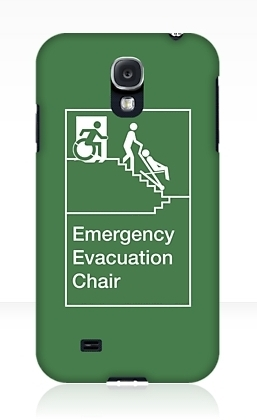 Accessible Means of Egress Icon Exit Sign Wheelchair Wheelie Running Man Symbol by Lee Wilson PWD Disability Evacuation Chair Samsung Galaxy Case 2