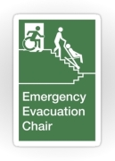 Accessible Means of Egress Icon Exit Sign Wheelchair Wheelie Running Man Symbol by Lee Wilson PWD Disability Evacuation Chair Sticker 1