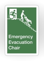Accessible Means of Egress Icon Exit Sign Wheelchair Wheelie Running Man Symbol by Lee Wilson PWD Disability Evacuation Chair Sticker 2
