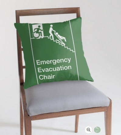Accessible Means of Egress Icon Exit Sign Wheelchair Wheelie Running Man Symbol by Lee Wilson PWD Disability Evacuation Chair Throw Pillow 1