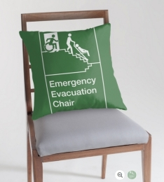 Accessible Means of Egress Icon Exit Sign Wheelchair Wheelie Running Man Symbol by Lee Wilson PWD Disability Evacuation Chair Throw Pillow 2