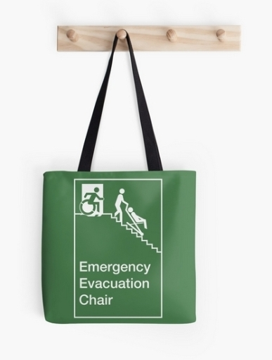 Accessible Means of Egress Icon Exit Sign Wheelchair Wheelie Running Man Symbol by Lee Wilson PWD Disability Evacuation Chair Tote Bag 1
