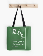 Accessible Means of Egress Icon Exit Sign Wheelchair Wheelie Running Man Symbol by Lee Wilson PWD Disability Evacuation Chair Tote Bag 2