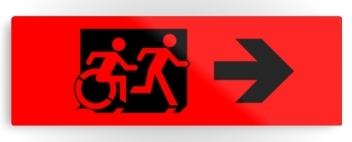Accessible Means of Egress Icon Exit Sign Wheelchair Wheelie Running Man Symbol by Lee Wilson PWD Disability Evacuation Metal Printed 10