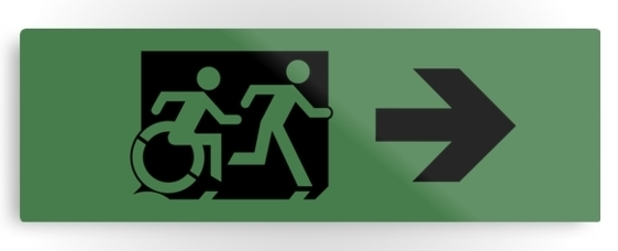 Accessible Means of Egress Icon Exit Sign Wheelchair Wheelie Running Man Symbol by Lee Wilson PWD Disability Evacuation Metal Printed 100
