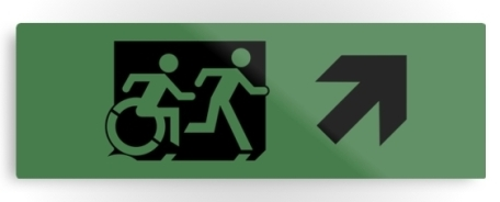 Accessible Means of Egress Icon Exit Sign Wheelchair Wheelie Running Man Symbol by Lee Wilson PWD Disability Evacuation Metal Printed 101