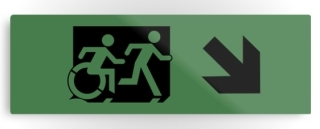 Accessible Means of Egress Icon Exit Sign Wheelchair Wheelie Running Man Symbol by Lee Wilson PWD Disability Evacuation Metal Printed 102