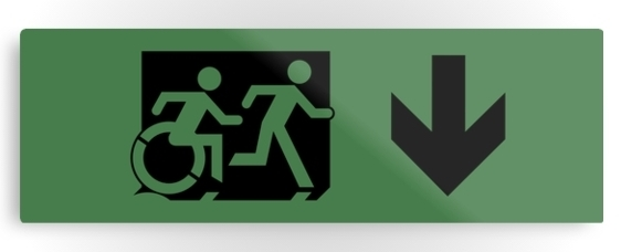 Accessible Means of Egress Icon Exit Sign Wheelchair Wheelie Running Man Symbol by Lee Wilson PWD Disability Evacuation Metal Printed 103