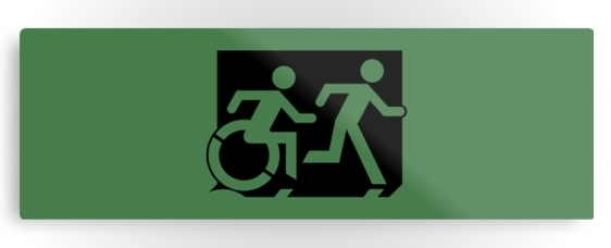 Accessible Means of Egress Icon Exit Sign Wheelchair Wheelie Running Man Symbol by Lee Wilson PWD Disability Evacuation Metal Printed 104