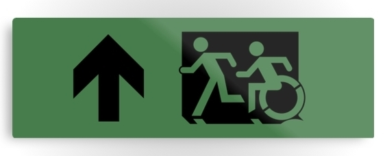 Accessible Means of Egress Icon Exit Sign Wheelchair Wheelie Running Man Symbol by Lee Wilson PWD Disability Evacuation Metal Printed 105
