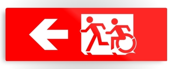 Accessible Means of Egress Icon Exit Sign Wheelchair Wheelie Running Man Symbol by Lee Wilson PWD Disability Evacuation Metal Printed 106