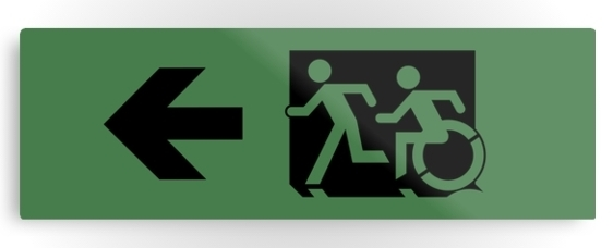 Accessible Means of Egress Icon Exit Sign Wheelchair Wheelie Running Man Symbol by Lee Wilson PWD Disability Evacuation Metal Printed 107