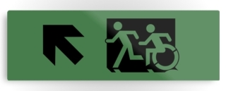 Accessible Means of Egress Icon Exit Sign Wheelchair Wheelie Running Man Symbol by Lee Wilson PWD Disability Evacuation Metal Printed 108