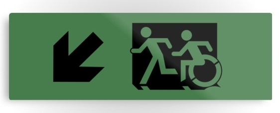 Accessible Means of Egress Icon Exit Sign Wheelchair Wheelie Running Man Symbol by Lee Wilson PWD Disability Evacuation Metal Printed 109