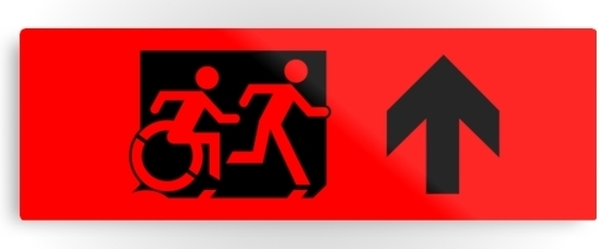 Accessible Means of Egress Icon Exit Sign Wheelchair Wheelie Running Man Symbol by Lee Wilson PWD Disability Evacuation Metal Printed 11