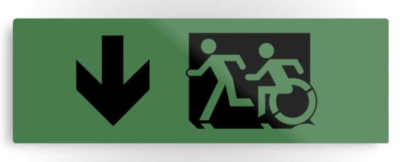 Accessible Means of Egress Icon Exit Sign Wheelchair Wheelie Running Man Symbol by Lee Wilson PWD Disability Evacuation Metal Printed 110