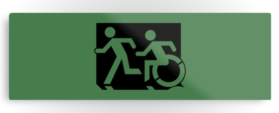 Accessible Means of Egress Icon Exit Sign Wheelchair Wheelie Running Man Symbol by Lee Wilson PWD Disability Evacuation Metal Printed 111