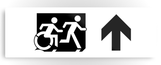 Accessible Means of Egress Icon Exit Sign Wheelchair Wheelie Running Man Symbol by Lee Wilson PWD Disability Evacuation Metal Printed 112