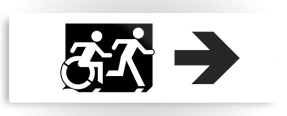 Accessible Means of Egress Icon Exit Sign Wheelchair Wheelie Running Man Symbol by Lee Wilson PWD Disability Evacuation Metal Printed 113